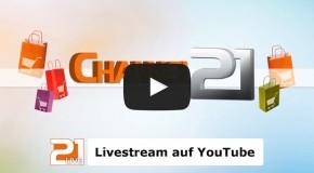 CHANNEL21 überträgt live auf YouTube